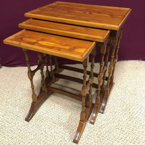 20th Century Yew Wood Nest of Tables image-1