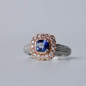 Blue Sapphire and Pink Diamond Ring