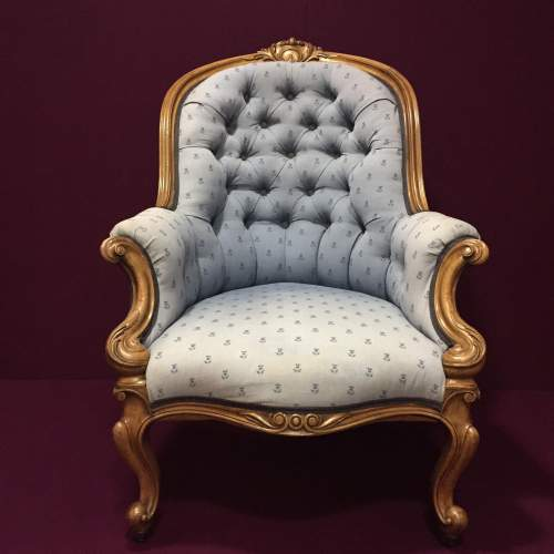 Early Victorian Upholstered Armchair image-2