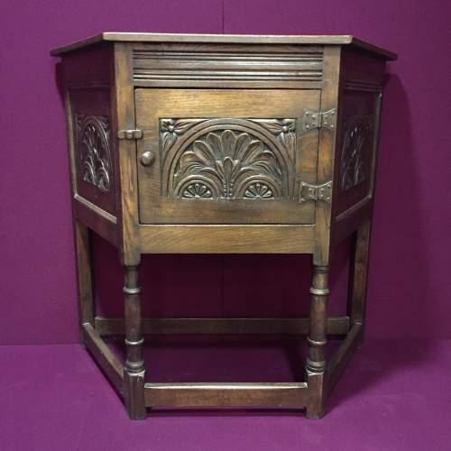 Solid Oak Carved Cupboard image-1