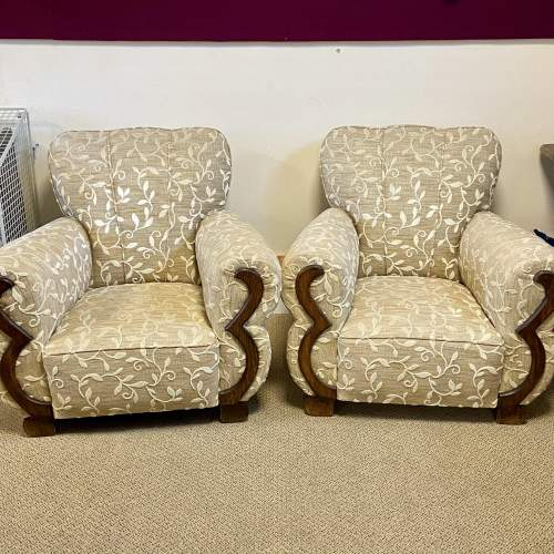 Pair of Art Deco Upholstered Club Chairs image-2