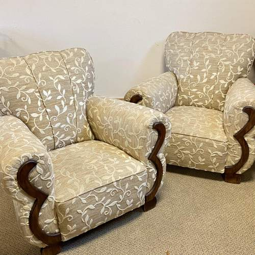 Pair of Art Deco Upholstered Club Chairs image-1