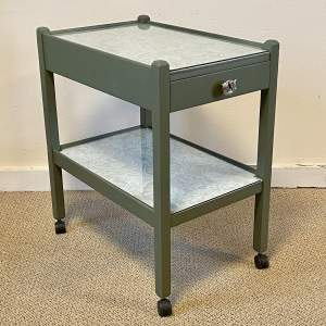 Mid Century Refurbished Two Tier Tea Trolley with Central Drawer