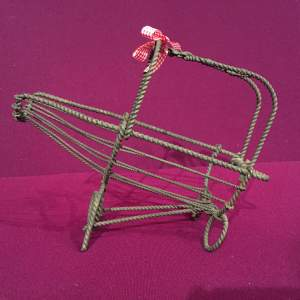 1920s French Rustic Wire Work Wine Bottle Holder
