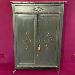 1890s French Painted Pine Cupboard