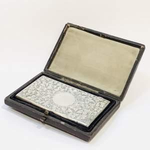 Victorian Silver Card Case in Original Leather Box