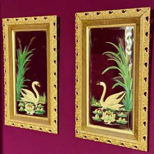Pair of Edwardian Painted Mirrors in Gilt Frames