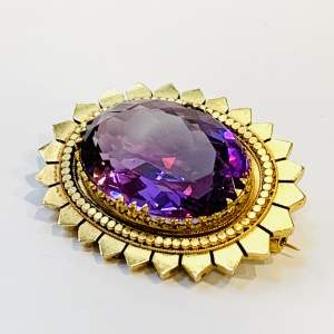 Large Amethyst and Gold Brooch