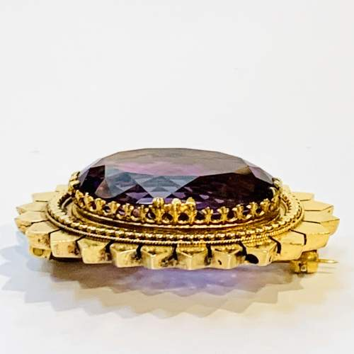 Large Amethyst and Gold Brooch image-2