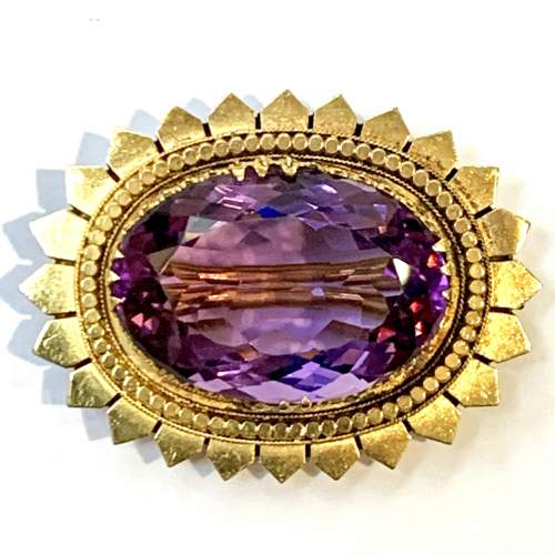 Large Amethyst and Gold Brooch image-4