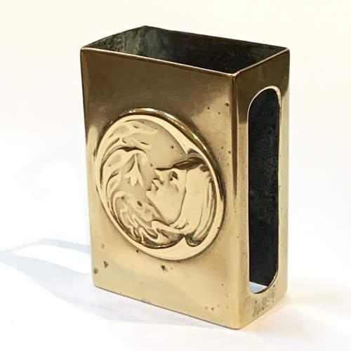 Art Nouveau Decorated Brass Match Box Cover image-1