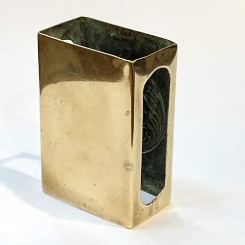 Art Nouveau Decorated Brass Match Box Cover image-2