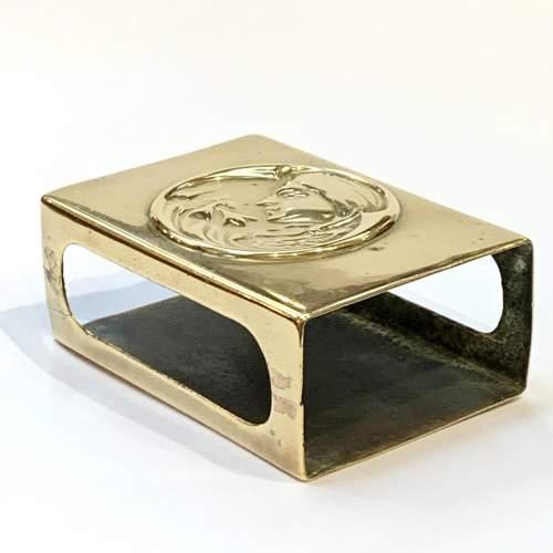 Art Nouveau Decorated Brass Match Box Cover image-3