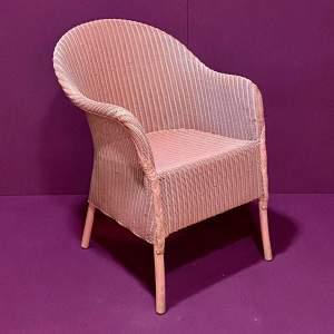 Lloyd Loom Dusky Pink Coloured Chair