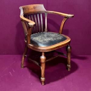 Edwardian Oak Office Desk Chair