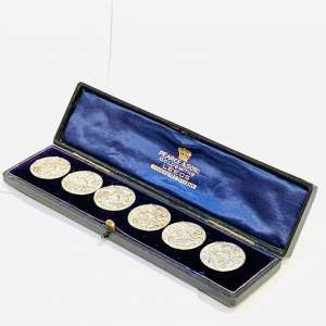 Boxed Set of Decorative Silver Buttons