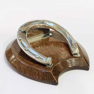 Horseshoe Silver and Oak Desk Clip by Sampson and Mordan