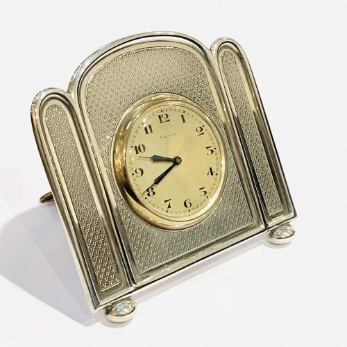 1920s Walker and Hall Silver Desk Clock image-1