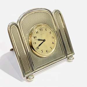 1920s Walker and Hall Silver Desk Clock