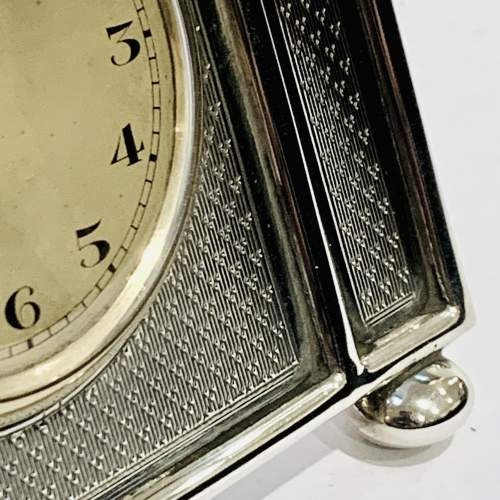 1920s Walker and Hall Silver Desk Clock image-4