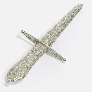 Decorative Victorian Silver Dagger Letter Opener