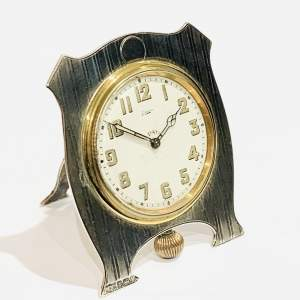 Mappin and Webb 1920s Silver Desk Clock