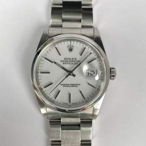 1990 Gents Rolex Date Just 16200 White Dial with Box