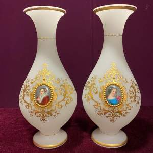Pair of Victorian White Opaline Glass Vases