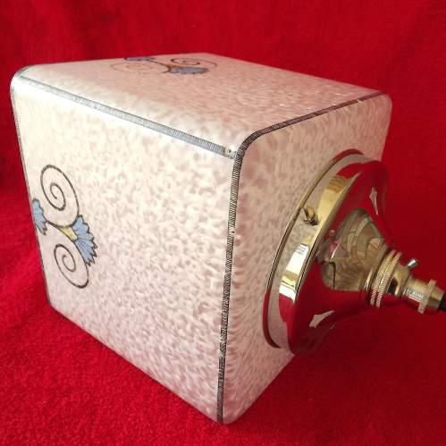 Original 1920s Art Deco Square Glass Hall Lantern Shade image-1