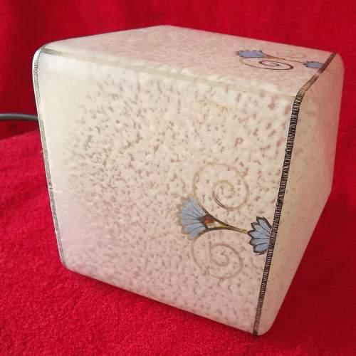 Original 1920s Art Deco Square Glass Hall Lantern Shade image-4