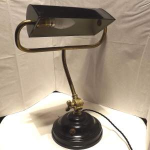 1950s Steel and Brass Adjustable Bankers Desk lamp