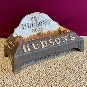 1930s Cast Iron Hudson Soap Advertising Dog Drinking Bowl