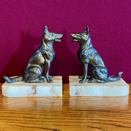 Pair of 20th Century Bronze and Marble German Shepherd Bookends image-1