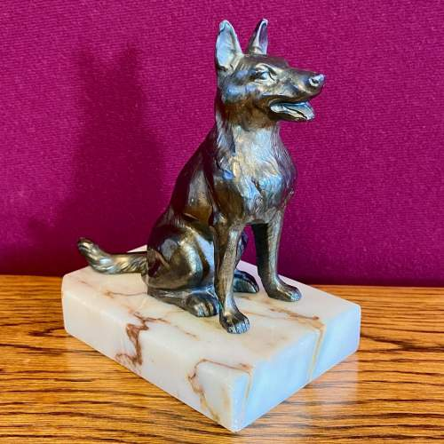 Pair of 20th Century Bronze and Marble German Shepherd Bookends image-3