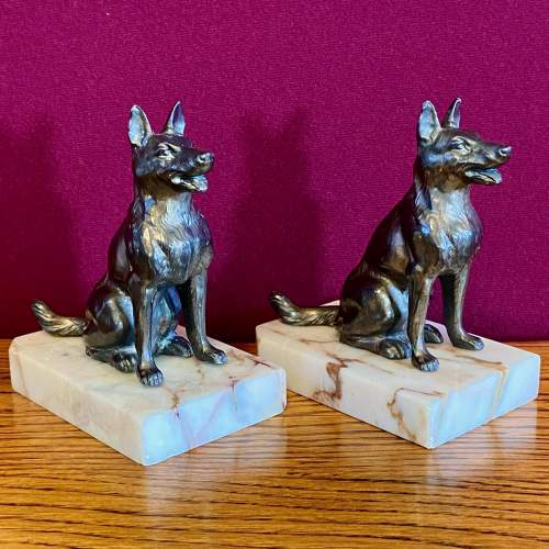 Pair of 20th Century Bronze and Marble German Shepherd Bookends image-2