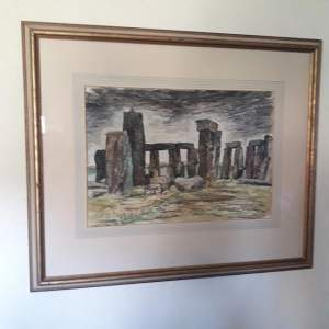 Stonehenge Watercolour Painting by D.L Rayner 1957
