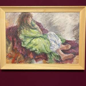 Oil on Board Painting of Girl Sitting