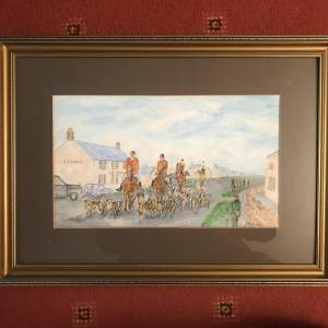 The Hunt Watercolour Painting Signed J E Ducket