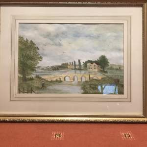 River Scene Watercolour Painting with Fisherman