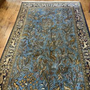 Stunning Hand Knotted Persian Rug Qhum In Animal Paradise Design