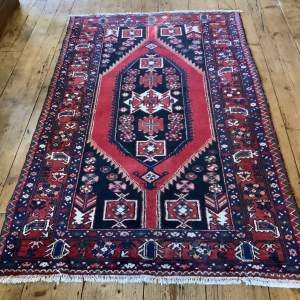 Old Hand Knotted Persian Rug Hamadan Village Piece Bold Colours