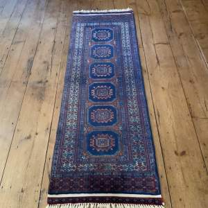 Hand Knotted Bokhara Runner In Repeating Medallion Design