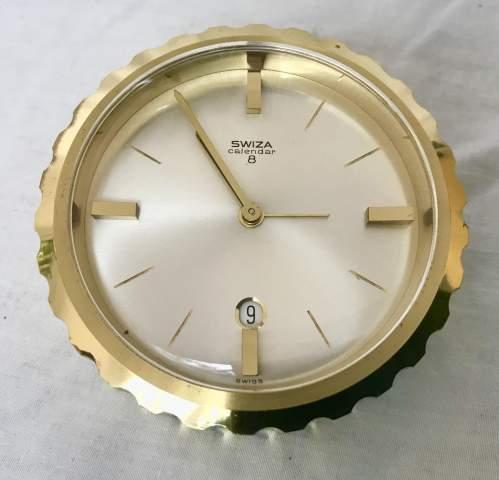 Swiza 8 Day Calendar Bedside Desktop Alarm Clock in Brass Case image-2