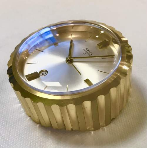 Swiza 8 Day Calendar Bedside Desktop Alarm Clock in Brass Case image-1