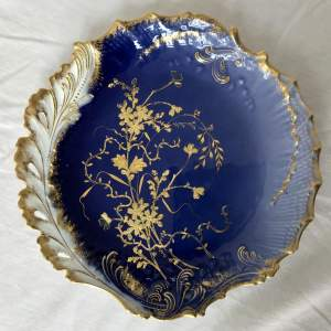 Limoges Decorative Ceramic Plate in Deep Blues and Gold by M Redon