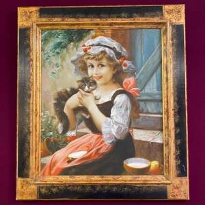 English School Oil on Canvas of Girl with Kittens