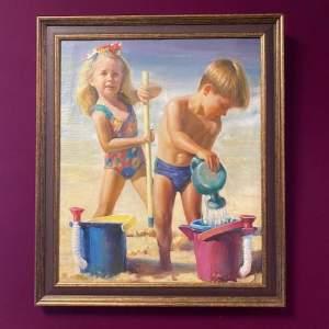 English School Oil on Canvas of Summer Holidays