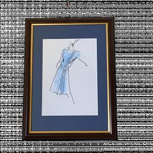 Fashion Original Drawing by Ian Thomas - dressmaker to the Royal Family