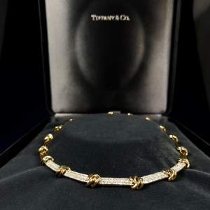 Tiffany and Co 18k Yellow Gold, Platinum and White Diamond Necklace