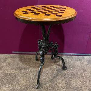 Good Quality Chess Top Table with Cast Iron Base